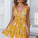 Yellow Surpliced V Neck Shoulder Strap Floral Dress