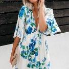 Sky Blue Hawaiian Babydoll Floral Dress