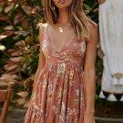 Orange Surpliced V Neck Shoulder Strap Floral Dress