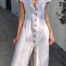 White Summer Buttoned Casual Shirt Maxi Dress