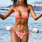 Pink Halter Triangular Bikini with Ties