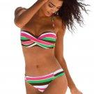 Green Boho Stripes Push up Bikini Set