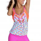 Printed Layered-Style Rosy Tankini with Swim Trunks