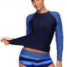 8.86-Navy Stripes Long Sleeve Rashguard Tankini Swimsuit