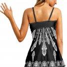 Black Twist Pleated Bust Flared Tankini Set Swimsuit