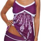 Purple Twist Pleated Bust Flared Tankini Set Swimsuit