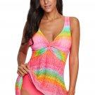 Rose Print Twist Tankini Swimwear