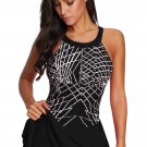 Black Printed Tankini Swimdress with Boyshort