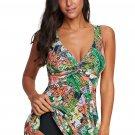 Green Print Twist Tankini Swimwear