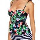 Multicolor 2pcs Floral Print Flounce Tankini Swimsuit