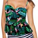 Black 2pcs Floral Print Flounce Tankini Swimsuit