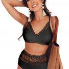 Black Captured Lace-Trim Bikini Top & High-Waist Bottoms