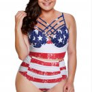 American Flag Strappy Neck Detail High Waist Swimsuit