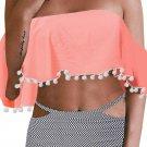 Orange Retro Flounce Tassel Off Shoulder High Waisted Bikini