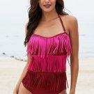 Rose Multi-layer Fringed One-piece Swimwear