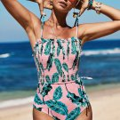 Pink Fashion Side Tie Flower Print One Piece Swimsuit