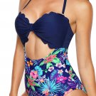 Blue Solid Color Bodice Floral Panty Swim Maillot