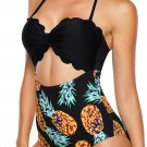 Multicolor Solid Color Bodice Floral Panty Swim Maillot