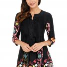 Black Floral Notch Neck Pin-tuck Tunic