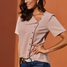 Pink Short Sleeve Button Detail Loose Fitting Chiffon Blouse