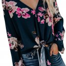 Rose V Neck Long Sleeve Tie Front Blouse