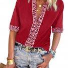 Red Chic Boho V Neckline Long Sleeve Blouse
