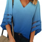 Blue Ombre Bell Sleeve V Neck Relaxing Fit Blouse