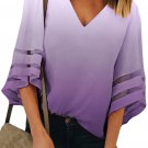 Purple Ombre Bell Sleeve V Neck Relaxing Fit Blouse