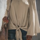 Apricot Off The Shoulder Bell Sleeve Tie Blouse