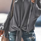 Gray Off The Shoulder Bell Sleeve Tie Blouse