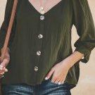 Green Button Down V Neck Sleeve Tie Shirt