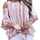 Pink Cold Shoulder Vertical Stripes Blouse