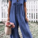 Blue Solid Short Sleeve Casual Jumpsuit