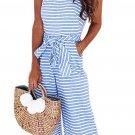 Sky Blue Striped Sleeveless Waist Belted Wide Leg Loose Jumpsuit