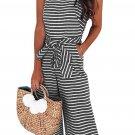 Black Striped Sleeveless Waist Belted Wide Leg Loose Jumpsuit