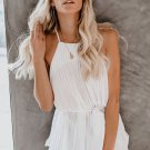 White Pleats To Meet You Tie Top