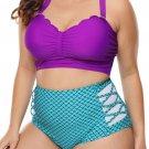 Plus Size Purple & Blue Scalloped Detail High Waist Swimsuit