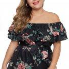 Black Plus Size Floral Tiered Off the Shoulder Top