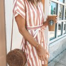 Mini Dresses Pink Fashion Stripe Short Sleeve Casual Dress
