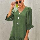 Green Casual Loose V Neck Short Swing Dress