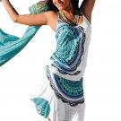 Sky Blue Trendy Print Summer Dress