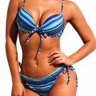 Multicolor Blue Wave Print Tie Decor Bikini Swimsuit
