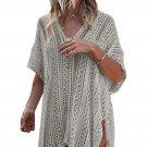 Gray Crochet Knitted Tassel Tie Kimono Beachwear