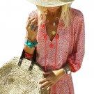 Red Summer V Neck 3/4 Sleeves Tassel-tie Dress