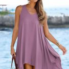 Purple Handkerchief Hem Crochet Back Sundress