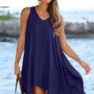 Blue Handkerchief Hem Crochet Back Sundress