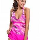 Rosy Print Halter Tankini and Skort Swimsuit