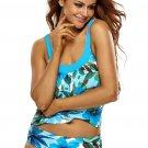 Bluish Floral Print 2pcs Tankini Swimsuit