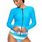 Blue White Contrast Long Sleeved Zip Rashguard Swimsuit