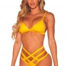 Yellow Strappy Caged High Waist Bikini Swimsuit